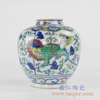 RYVW10-B_景德镇青花斗彩麒麟花瓶茶叶罐储物罐陶瓷摆件现代古典家居装饰