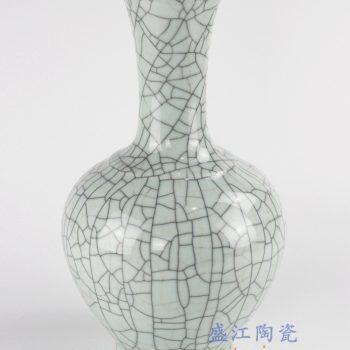 RYXC33_景德镇仿古瓷器哥窑开片金丝铁线天球现代简约家居装饰摆件
