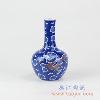 RYXN22_青花手绘留白釉里红龙纹天球瓶花瓶花插景德镇热卖