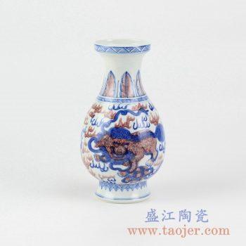 RYXN23_景德镇手绘青花釉里红麒麟花瓶花插花器陶瓷摆件特价