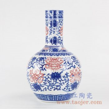 RYXP04_景德镇青花斗彩缠枝莲天球瓶花瓶陶瓷摆设品家居陈设