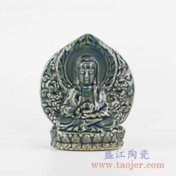 RYXP36_景德镇颜色釉陶瓷观音小摆件装饰摆设陶瓷艺术品装饰
