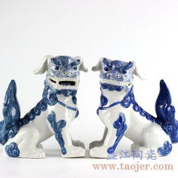 RYXZ10_景德镇仿古手绘青花狮子狗礼品摆件 陈设雕塑瓷