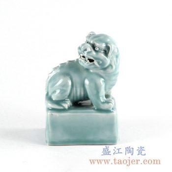 RYXZ13_仿古青釉 狮子雕塑陶瓷镇纸 家居装饰摆件陈设