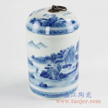 RZCC01-B_手绘青花铜环山水茶叶罐盖罐密封罐储物罐家居装饰摆件