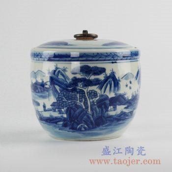 RZCC04-B_景德镇手绘青花山水铜环茶叶罐糖缸储物罐收纳罐