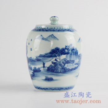 RZCC08_景德镇手绘山水人物盖罐茶叶缸酒坛糖缸陶瓷储物罐