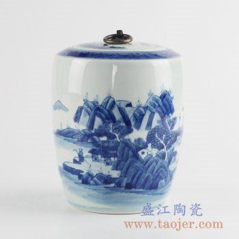 RZCC09_手绘青花铜扣山水盖罐密封罐储物罐糖缸陶瓷缸景德镇