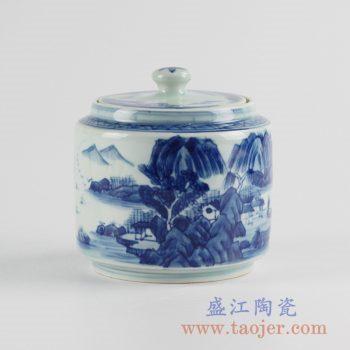 RZCC10_景德镇手绘青花山水茶叶罐糖缸陶瓷盖罐储物罐