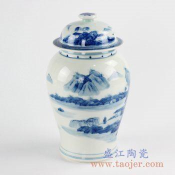 RZCC11_景德镇手绘青花将军罐茶叶罐 罐子陶瓷盖罐储物罐家居装饰摆件