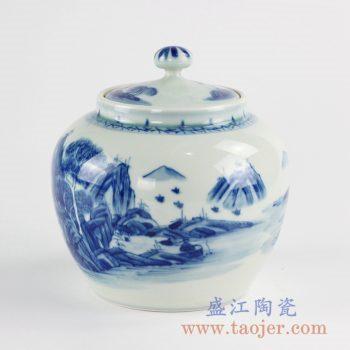RZCC12-A_景德镇手绘青花山水茶叶罐 罐子 糖缸 储物罐 陶瓷盖罐