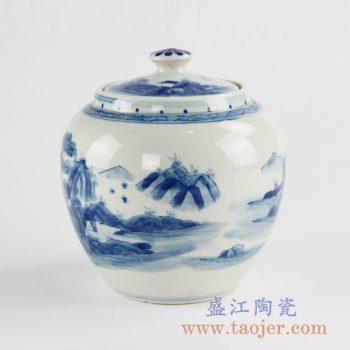 RZCC12-B_手绘青花山水茶叶罐 罐子 陶瓷储物罐 糖缸 盖罐 景德镇