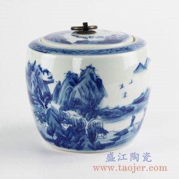 RZCC13_景德镇手绘青花山水系列铜扣茶叶罐 罐子 陶瓷盖罐 储物罐 糖缸