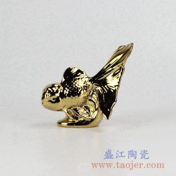 RZCW02-B_金黄色镀金鱼陶瓷摆件景德镇酒柜装饰品热卖