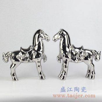 RZCW05-B_镀银双马陶瓷摆件品装饰柜摆设现代家居室内装饰摆设景德镇