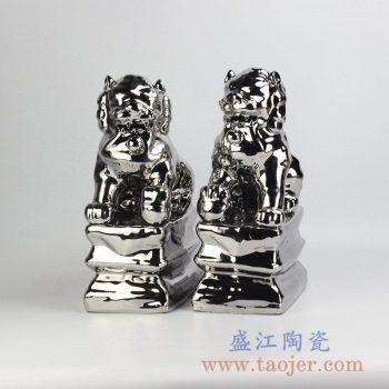 RZGA01-F_颜色釉镀银亮光狮子摆件装饰品站立
