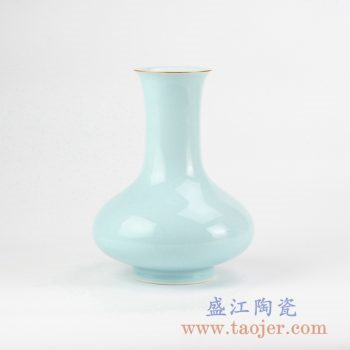 RZJR05_青釉描金口扁肚花瓶花插创意陶瓷花器艺术摆件简约景德镇