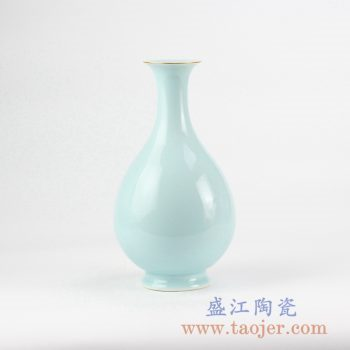 RZJR07_青釉描金玉壶春花瓶花插创意陶瓷花器艺术摆件简约