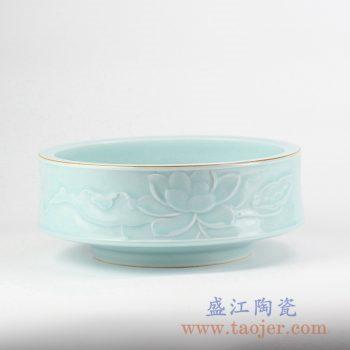 RZJR08_青釉描金雕刻荷花花盆水浅鱼缸烟灰缸陶瓷花插花器