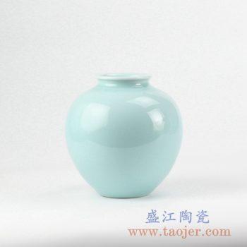 RZJR10_景德镇颜色釉单色釉天青色花瓶 陶瓷瓶 摆件 家居装饰瓷器