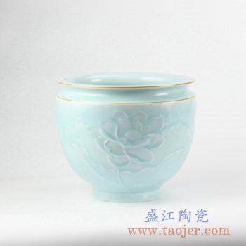 RZJR11_高温颜色釉青釉手工雕刻莲花纹金边水缸 水盂 鱼缸 水洗 水养花盆 陶瓷缸