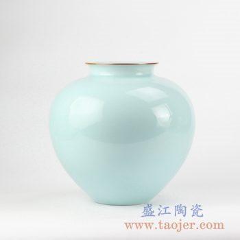 RZJR12_景德镇颜色釉青釉描边花瓶 陶瓷瓶 摆件 家居装饰瓷器