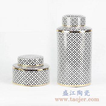 RZKA161273-T_现代装饰铜钱纹金边描金直筒茶叶罐盖罐储物罐糖果罐摆设装饰