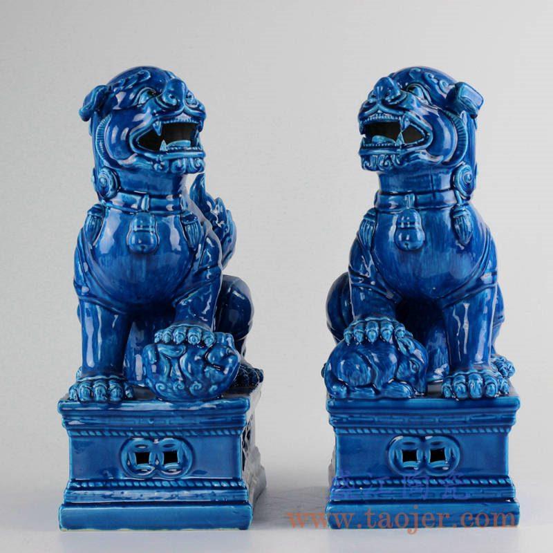 RZKC02_颜色釉狮子雕塑孔雀蓝对狮摆件陈设装饰瓷器