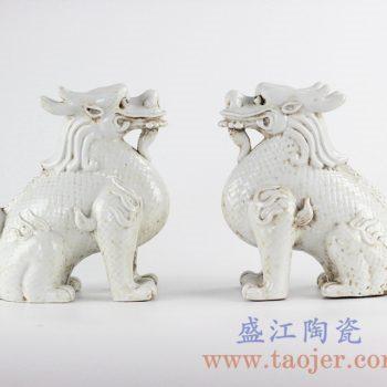 RZKC04景德镇陶瓷仿古纯白瓷麒麟动物雕塑摆件家居装潢雕塑瓷店面陈设装饰