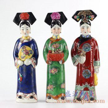 RZKC11_彩绘雕塑人物摆件清代宫廷仕女人物雕塑格格皇后妃子雕塑装饰摆设