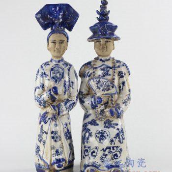 RZKC13_青花古代人物帝王皇后雕塑摆件 陈设装饰 清代人物雕塑陶瓷 家居陈列装饰
