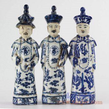 RZKC16_景德镇青花雕塑摆件清代皇帝人物塑像陈设瓷家居装饰摆设雕塑