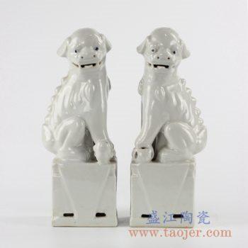 RZKC17_陶瓷雕塑狮子摆件对狮白色家居陈设瓷环境软装陈列雕塑瓷