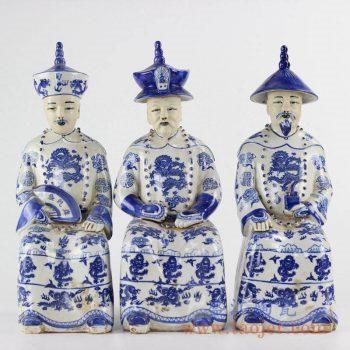 RZKC18_青花陶瓷雕塑清代皇帝人物摆件软装装饰陈列品家居装饰