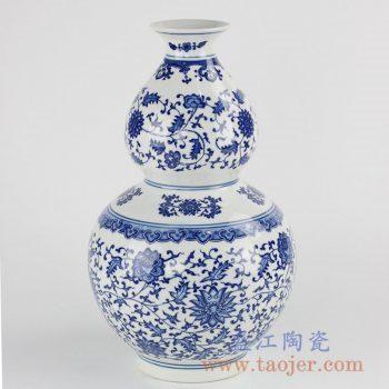 RZKE01_景德镇青花葫芦瓶仿古陈设缠枝纹瓷家居装饰摆件赏瓷中国风装饰