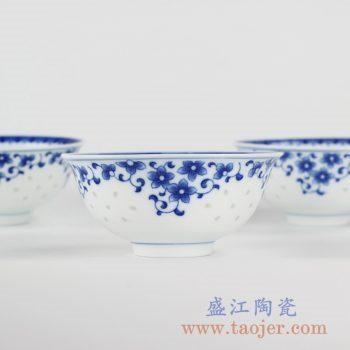 RZKH01_景德镇青花玲珑小碗饭碗缠枝花朵图案餐具礼品