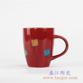 RZKI01_高温颜色釉彩绘红色现代设计茶杯 办公杯 陶瓷水杯 咖啡杯