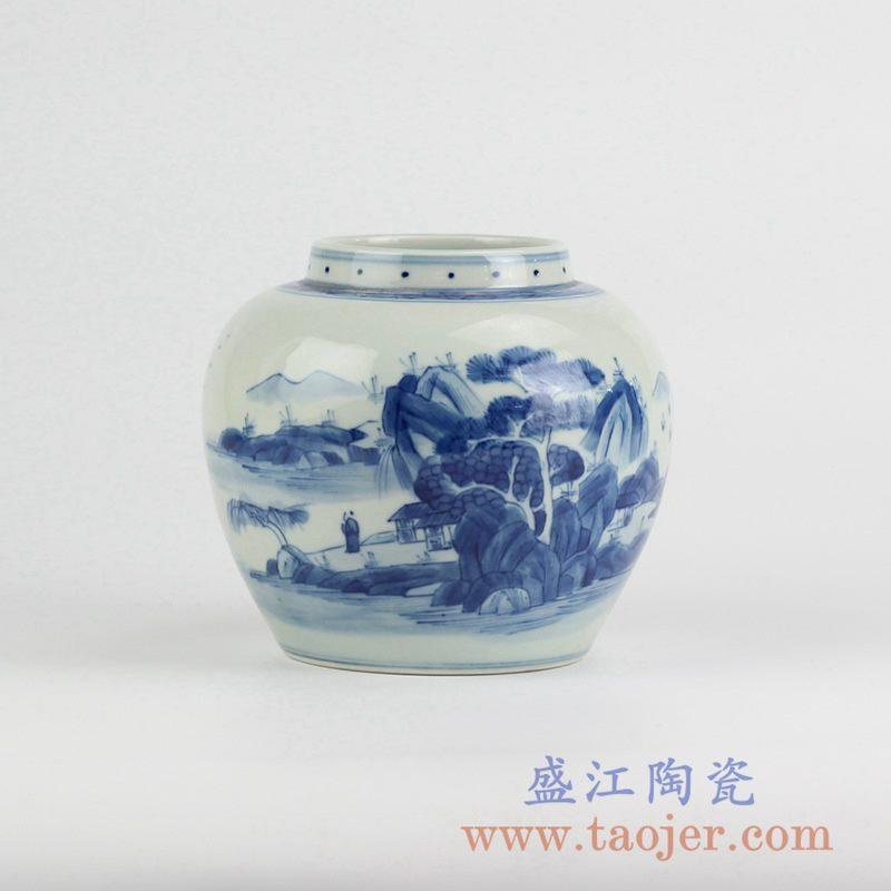 RYCZ11_青花手绘山水人物花瓶花插陶瓷罐景德镇艺术摆件景德镇