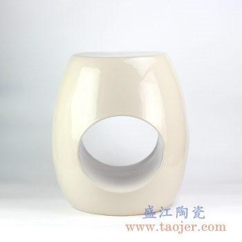 RYIR119-B_定做定制淡黄通孔异形凉凳花园凳陶瓷墩陶瓷凳换鞋凳
