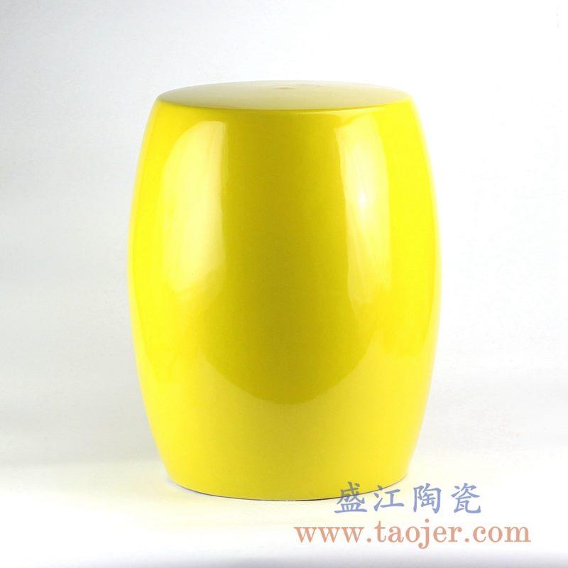 RYIR121_颜色釉黄色凉凳陶瓷墩花园凳浴室凳家居摆件吧台凳