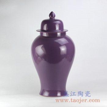 RYKB117-L_颜色釉紫色将军罐陶瓷罐花瓶花插家居日用摆件
