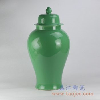 RYKB117-M_颜色釉绿色将军罐陶瓷罐花瓶花插家居日用摆件