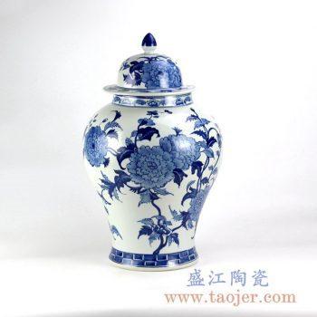 RYLU128 手绘青花 花朵 花卉 将军罐储物罐花瓶花插家居摆件品景德镇