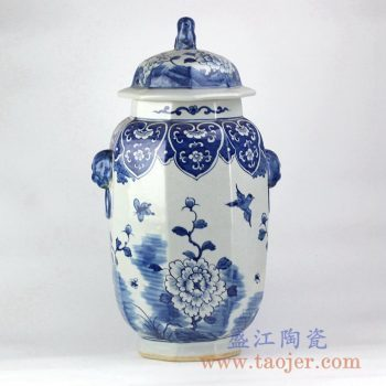 RYLU130_仿古青花花鸟多边形双狮头陶瓷罐储物罐艺术家居摆件