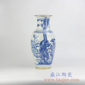 RYLU33-B_青花描金边花鸟花瓶花插艺术家居摆件品