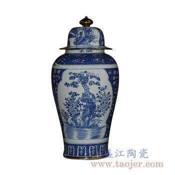 RYLU43-B_手绘青花开窗花鸟将军罐花瓶花插陶瓷罐家居摆件