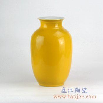 RYNQ20-B_颜色釉黄色冬瓜瓶花瓶花插陶瓷罐摆件品