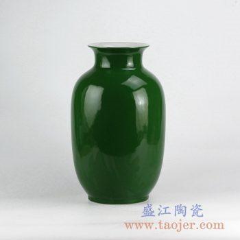 RYNQ20-D_颜色釉翠绿冬瓜瓶花瓶花插陶瓷罐摆件品