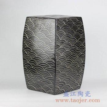 RYNQ204_颜色釉鱼纹四边形方形凳凉墩陶瓷凳花园凳摆件