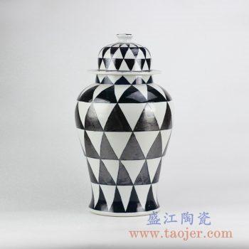 RYNQ205_黑白菱形花色将军罐陶瓷罐储物罐摆件品小号